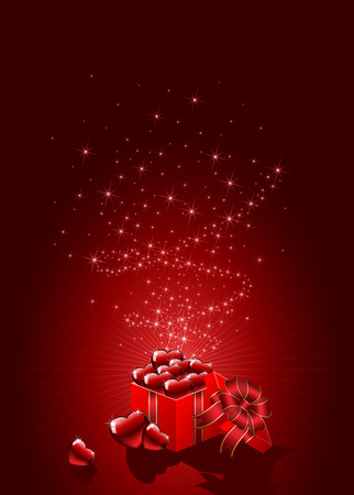 Background with gift box and red Hearts, illustration Stock Vector - 8567329