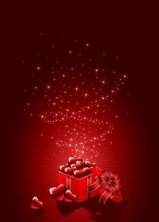 st valentins day: Sfondo con confezione regalo e cuori rossi, illustrazione
