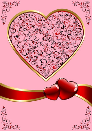 Background with ornate Hearts, illustration Stock Vector - 8567327