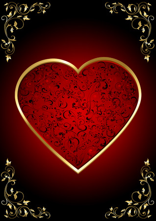 Background with ornate Hearts, illustration Vector