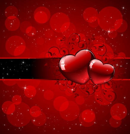 st valentins day: Scheda di San Valentino con elementi ornati, illustrazione Vettoriali