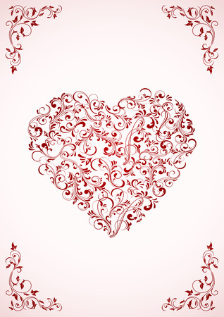 Background with ornate Hearts, illustration Stock Vector - 8595022