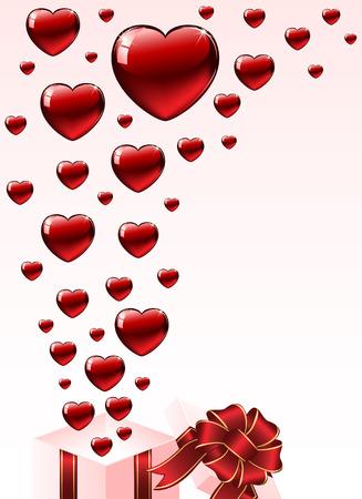 st valentins day: Giorno di San Valentino sfondo con confezione regalo e cuori