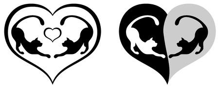 st valentins day: Due gatti dentro il cuore, illustrazione