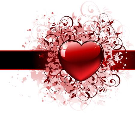 st valentins day: Cuore rosso su sfondo grunge, illustrazione