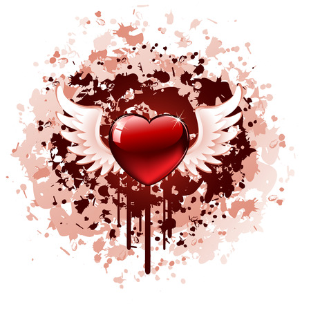 Red Heart on grunge background, illustration Vector