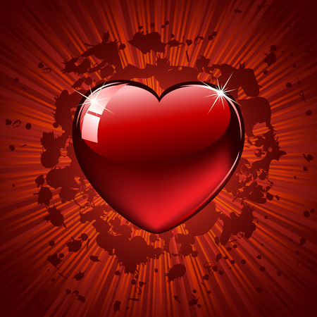 Red Heart on grunge background, illustration Stock Vector - 8621875