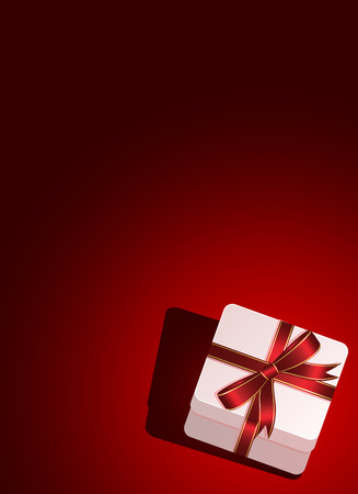 st valentin's day: Red background with gift box, illustration