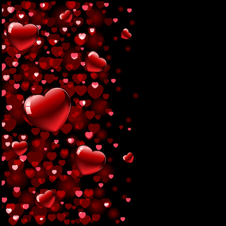 Valentines Day background with blurry hearts, illustration Vector