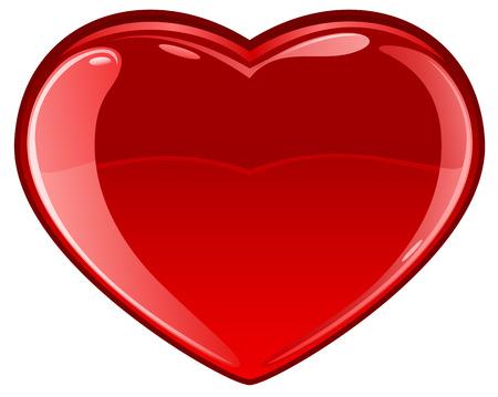 st valentins day: Cuore vetrosi su sfondo bianco, illustrazione Vettoriali