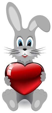 Smiled rabbit embraces the heart, illustration Vector