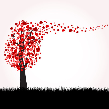 Love tree with hearts on a grass, illustration Stock Vector - 8693983