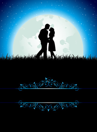 Man and Woman on Moon background, illustration Vector