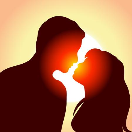 man face profile: Silueta de j�venes de hombre y mujer en amor, ilustraci�n  Vectores
