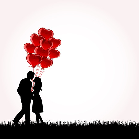 inflating: Man and Woman with Balloons, illustration