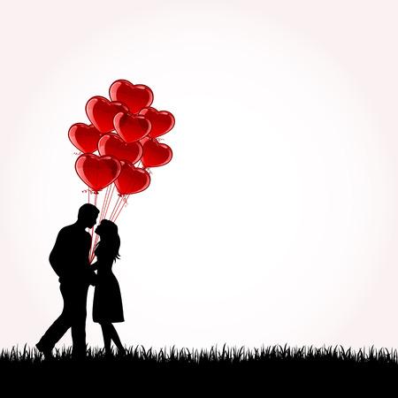 Man en vrouw met ballonnen, illustratie Vector Illustratie