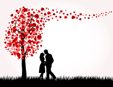 love image: Man, Woman and Love tree with hearts on a grass, illustration
