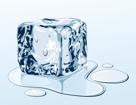 puddle: Ice cube on water surface, illustration