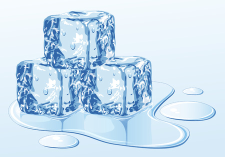 water surface: Ice cube on water surface, illustration