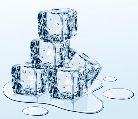 melting: Cubo de hielo sobre la superficie del agua, ilustraci�n