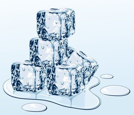 melting: Ice cube on water surface, illustration