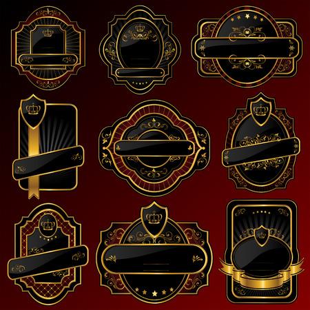 Set of Golden labels, illustration Vector