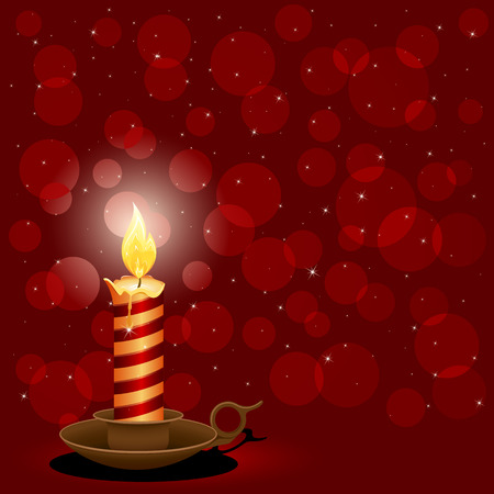 Burning candle and blurry light, illustration Vector
