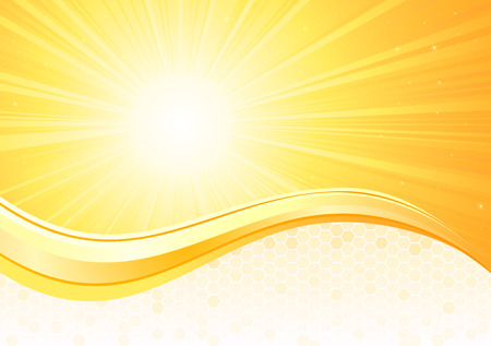 Sunburst  background with honeycomb, illustration Vector