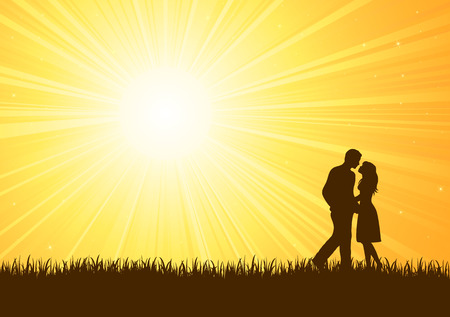 young couple kiss: Silhouette of young man and woman on sunburst background, illustration