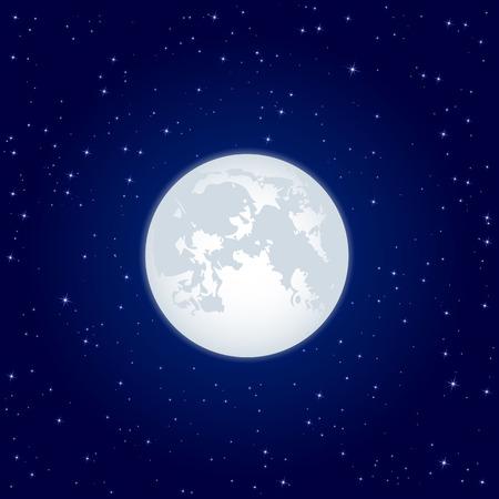volle maan: Nacht achtergrond, maan en sterren op donker blauwe hemel, illustratie schijnt Stock Illustratie