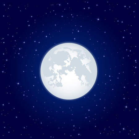 moon and stars: Night background, Moon and shining Stars on dark blue sky, illustration