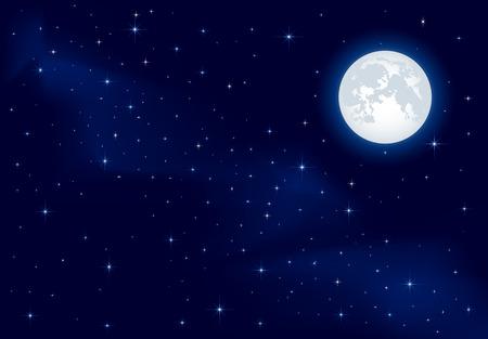 Fondo de noche, la Luna y el resplandor de estrellas en el cielo azul oscuro, ilustración