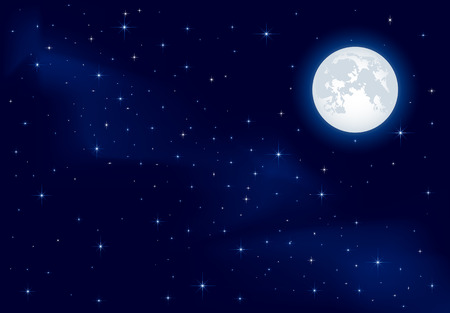 moonlight: Night background, Moon and shining Stars on dark blue sky, illustration