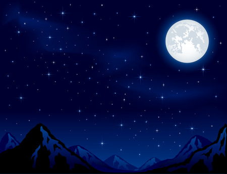 panoramic sky: Mountains on the Moon background  Illustration