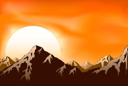 bergbeklimmen: Bergen op de achtergrond van de zon  Stock Illustratie