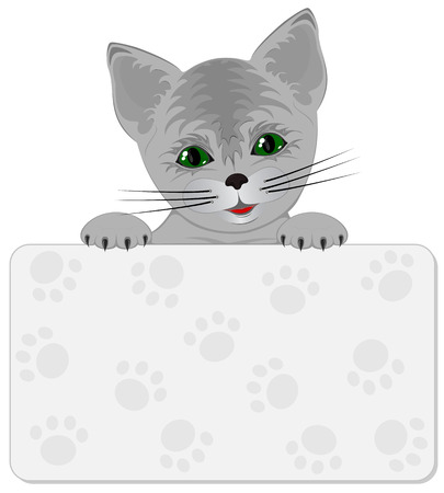 Smiled Kitty with banner, illustration Vector