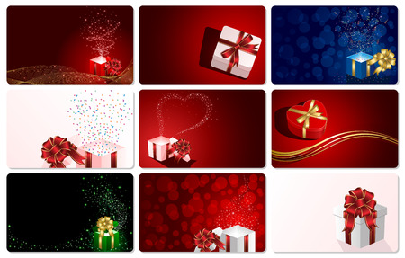 red gift box: Set of cards with Presents, illustration