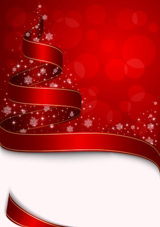 goldy: Albero di Natale con stelle e fiocchi di neve su sfondo rosso, illustrazione
