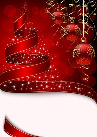 goldy: Albero di Natale con stelle e palle su sfondo rosso, illustrazione