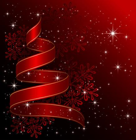 goldy: Nastro in forma di albero di Natale con stelle e fiocchi di neve su sfondo rosso, illustrazione Vettoriali
