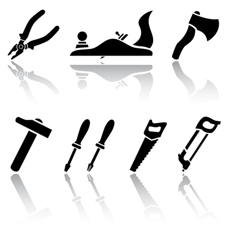 handsaw: Set of black Tool icons, illustration
