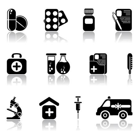remedy: Set of black medical icons, illustration