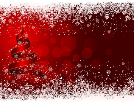 red christmas: Ribbon in the form of the Christmas tree with stars and snowflakes on red background, illustration