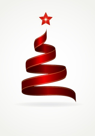 gold ribbons: Ribbon in the form of the Christmas tree with star, illustration
