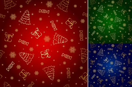 Seamless wallpaper with Christmas tree, Snowflake, Present and candy, illustration Vector