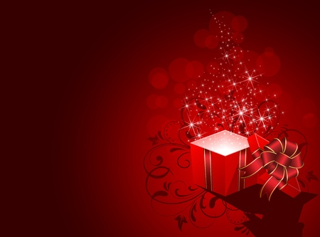 red gift box: Open magic Gift box, illustration