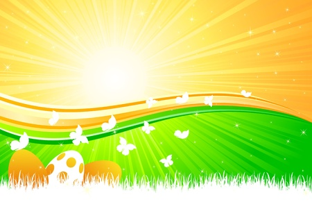 Easter eggs siting in the grass against a Sunburst, illustration Vector
