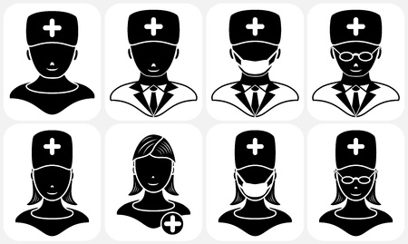 Set of black medical icons, illustration Vector