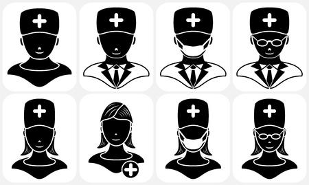Set of black medical icons, illustration Stock Vector - 9243715