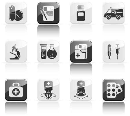 скорая помощь: Set of black medical icons, illustration